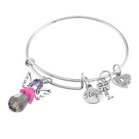 "Encounter Black Crystal Angle Heart Lock""made with love""Hope Adjustable Wire Bangle Charm Bracelet"