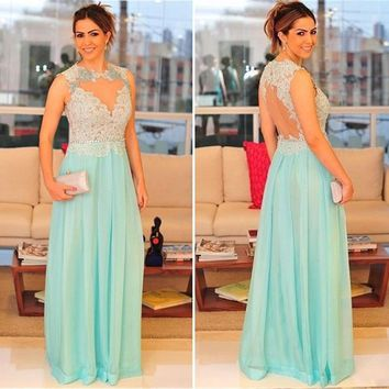 Sexy See Through Beaded Lace Prom Dresses 2016 Backless Light Green/Mint Prom Dress Plus Size Chiffon Evening Party Gowns PL21