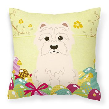 Easter Eggs Westie Fabric Decorative Pillow BB6042PW1818