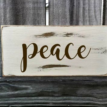 PEACE Rustic Sign / Distressed Wooden Sign / PEACE Vintage Sign / PEACE Rustic Sign