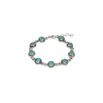 Sterling Silver Round Simulated Turquoise with Roped Border Link Bracelet