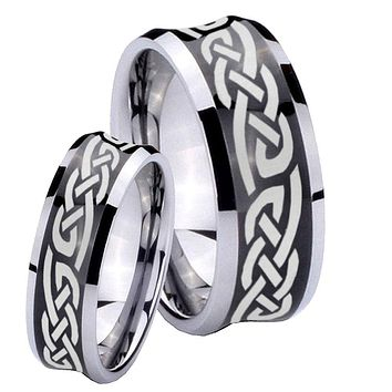 His and Hers Celtic Knot Infinity Love Concave Black Tungsten Mens Ring Engraved Set