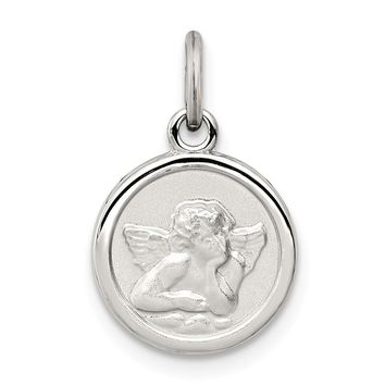 925 Sterling Silver Rhodium-Plated Angel Medal Charm and Pendant