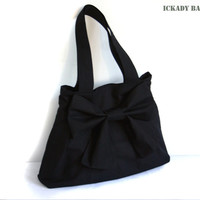 SALE - Black Canvas Bag with Big Bow / Pleated Purse / Tote / Shoulder bag / Everyday bag / Handbag / Cute Bag - Renee