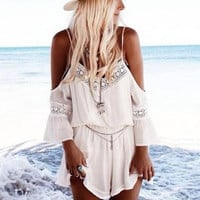White Lace Shoulder Cutout Chiffon V-neck Bell Sleeve Blouson Romper