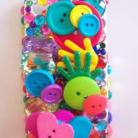 Black Friday Etsy Custom Iphone 4/4s Fun, Primary Color, Button Bling Cell Phone Case  FREE SHIPPING