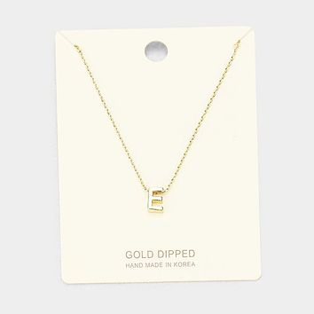 'E' Gold Dipped Metal Pendant Necklace