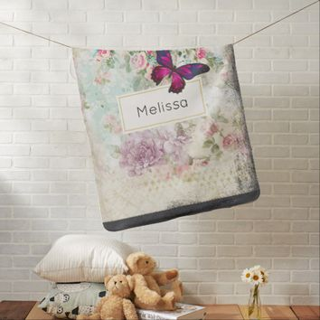 Pink Butterfly and Shabby Vintage Roses Custom Baby Blanket