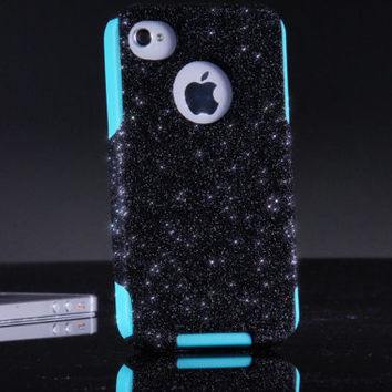 Otterbox iPhone 4 4S Custom Case - Black Glitter iPhone 4S Case - iPhone 4 4S Cover Sparkly Bling Case