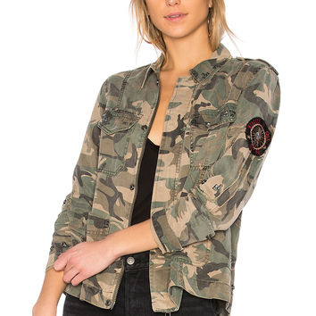 Pam & Gela Studded Army Jacket in Camo Print