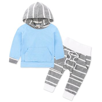Cute Fashion Newborn Baby Clothes Infant Toddler Bebes Boys Girls Striped Hooded Sweatshirt Tops Pant 2PCS Bebek Giyim Clothing