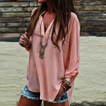 Fashion V-Neck Chiffon Loose Shirt Blouse Tops
