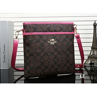 COACH Men Fashion Casual Print Shoulder Bag Diagonal Male Package Coffee + Rose red G-MYJSY-BB