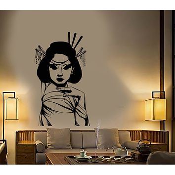 Vinyl Wall Decal Japanese Geisha Girl Asian Style Woman Stickers (3275ig)