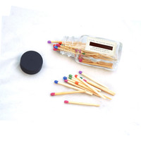 Colorful Tiny Square Bottle Matches - Luxury Party Matches - Strike on Bottle - Multicolor Matchsticks - Pair with a Candle - Tiny Gift - Light a Spark