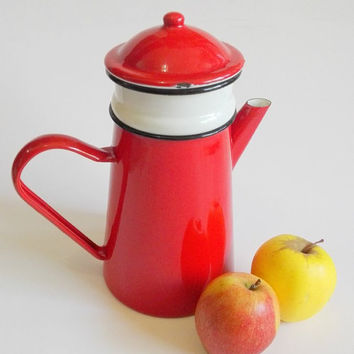 Vintage French Enamel red Coffee Pot , coffee jar.