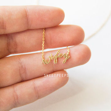 Tiny Gold Plated Wifey Necklace