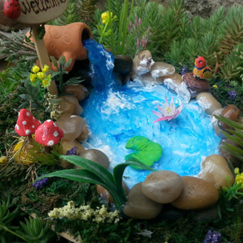 FAIRIES GARDEN POND, Garden Accessories ,River rock terrariums pond, fairy pond, fairy house pond, fairy garden, fairy pond,miniature pond