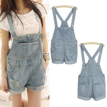 Top Quality 2017 Women Girls Fashion Washed Jeans Denim Casual Hole Jumpsuit Romper Overalls