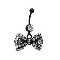 Black Bow Dangle Belly Ring With Stones 316L Surgical Steel 14 Guage with 1 Belly Retainer