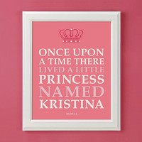 Once Upon A Time Personalized Princess Art Print for Nursery or Girl's Room Decor