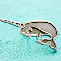NARWHAL pin - kawaii animal jewelry by boygirlparty, narwhal brooch lapel pin - unicorn of the sea