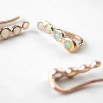 Opal Rose Gold Earring Climbers | Rose Gold Earring Climbers | Opal Earrings | Rose Gold Earrings | Earring Climbers | Opal Stone | Opal