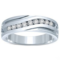 10K White Gold .50 cttw Channel-Set Diamond Men's Slant Wedding Band