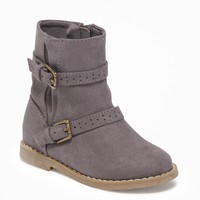 Sueded Buckled Boots for Toddler Girls  old-navy