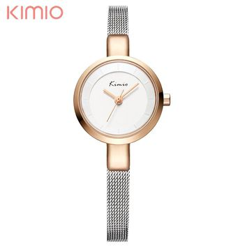KIMIO Women Dress Watch Slim Small Dial Steel Mesh Band Simple Casual Ladies Wrist Watches