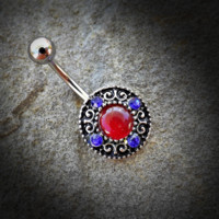 Vintage Circular Swirl Gemmed Belly Button Ring 14ga Non Dangle 316L Surgical Steel Navel Ring