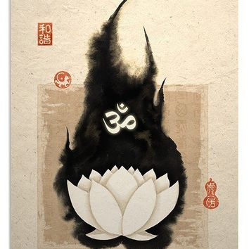White Lotus and Om Symbol Art Print