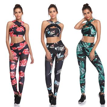 Fitness Yoga Set Women Halter Sleeveless Mesh Leggings Running Workout Gym