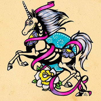 Day of the Dead UNICORN Tattoo Flash Art Print 5 x 7 or 8 x 10