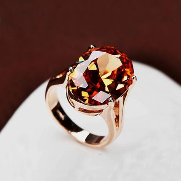 Brilliant Amazing Big Champagne CZ Stone Ring Large Single Oval Orange Crystal Cut Luxury Ring Gold Color Women Jewelry