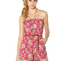 Papaya Clothing Online :: FLORAL BELTED ROMPER