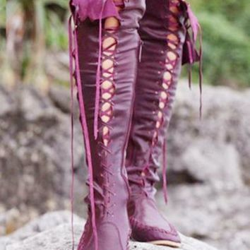 Fashion Show Thin Lace Up Type Knot Knee High Flat Boots Wine Red