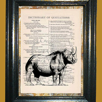 African Two Horned Rhino Art - Vintage Dictionary Book Page Art Upcycled Page Art Mixed Media Art Rhino Print