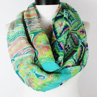 tribal mint infinity scarf, scarf, scarves, long scarf, loop scarf, gift