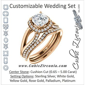 CZ Wedding Set, featuring The Gabrielle Mia engagement ring (Customizable Cushion Cut Design with Halo & Accented Three-sided Wide Split Band)