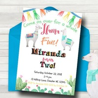 Llama birthday invitation - Llama Party Invitation - Llama Girls Party Invitation - LLama Boys Party Invitation -  PRINTABLE - Llama Party