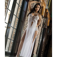 Sheer Seductive Dress & Hiphugger Panty White O-s