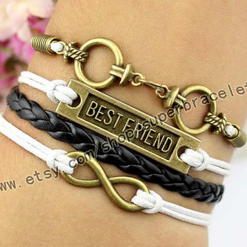 Ring bracelet, best friend bracelet, infinity bracelet, bronze charm, white - black leather, girlfriend and BFF
