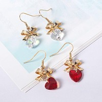 Girls Heart Three Dimensional Butterfly Crystal Glass Women Earrings Jewelry