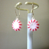 Peppermint Candy Earrings Red White Holiday Cheer Jewelry
