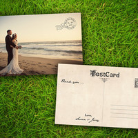 """Wedding Photo Thank You PostCard - Vintage French Riviera Customizable 4"""" x 6"""" - 50 Pieces PRINTED Double Sided Premium Card"""