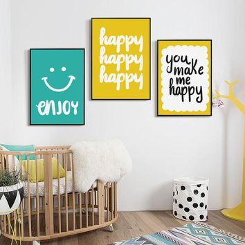 Nordic Decoration Simple Courtesy Happy Phrase Canvas Painting Poster & Print Picture Wall Art Children's Bedroom Home Decor