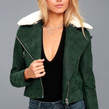 Peak My Interest Forest Green Vegan Leather Moto Jacket