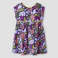 Toddler Girls' A Line Floral Piped Dress Navy - Cat & Jack™