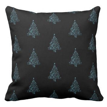 Merry Christmas Tree Pattern Black Metallic Blue Throw Pillow